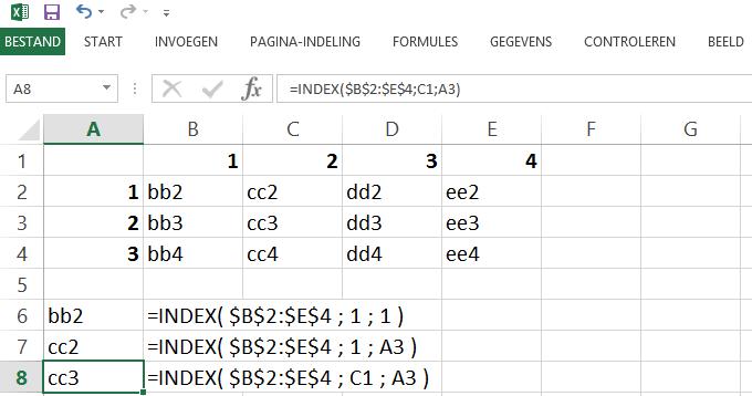 Schermafbeelding van het Excelbestand met alle voorbeelden van de INDEX functie