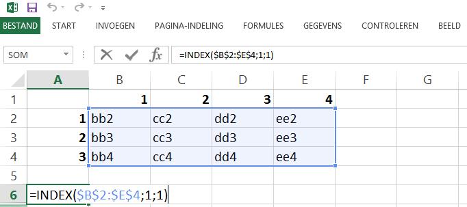 Schermafbeelding van een Excelbestand met het 1ste voorbeeld de INDEX functie