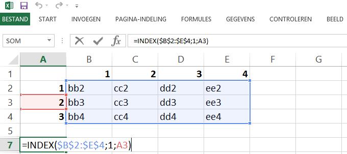 Schermafbeelding van een Excelbestand met het 2de voorbeeld de INDEX functie