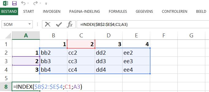 Schermafbeelding van een Excelbestand met het 3de voorbeeld de INDEX functie