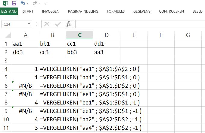 Excel bestand met voorbeelden voor de functie Vergelijken