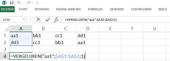 Schermafbeelding van een Excelbestand met het 1ste voorbeeld de VERGELIJKEN functie