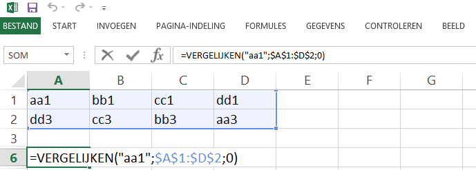 Schermafbeelding van een Excelbestand met het 3de voorbeeld de VERGELIJKEN functie