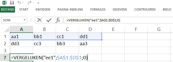 Schermafbeelding van een Excelbestand met het 4de voorbeeld de VERGELIJKEN functie