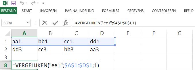 Schermafbeelding van een Excelbestand met het 5de voorbeeld de VERGELIJKEN functie