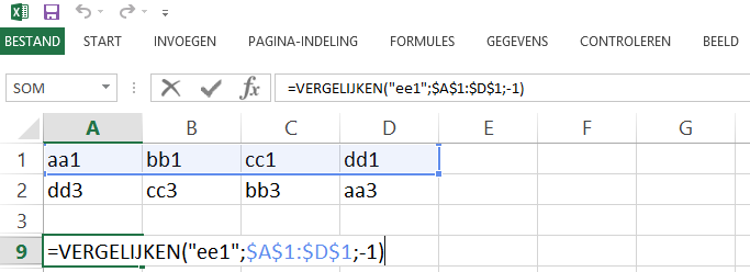 Schermafbeelding van een Excelbestand met het 6de voorbeeld de VERGELIJKEN functie