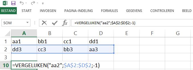 Schermafbeelding van een Excelbestand met het 7de voorbeeld de VERGELIJKEN functie