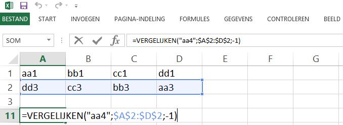 Schermafbeelding van een Excelbestand met het 8ste voorbeeld de VERGELIJKEN functie