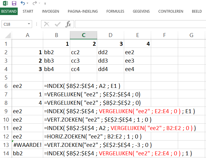 Schermafbeelding van het Excelbestand met alle voorbeelden van de functies INDEX en VERGELIJKEN