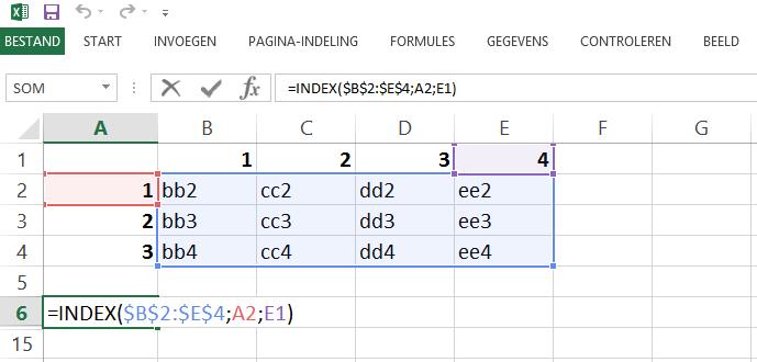 Schermafbeelding van een Excelbestand met het 1ste voorbeeld van de INDEX en VERGELIJKEN functies