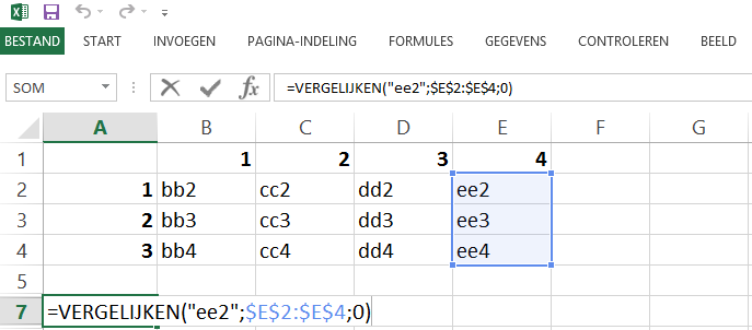 Schermafbeelding van een Excelbestand met het 2de voorbeeld van de INDEX en VERGELIJKEN functies