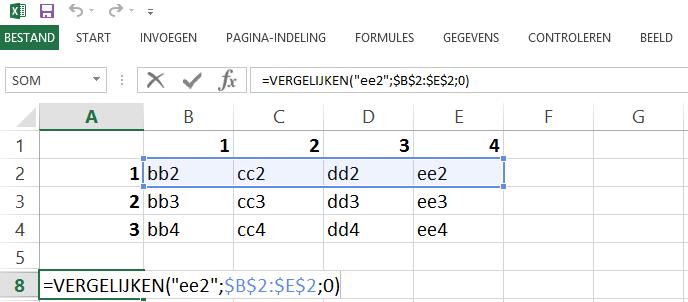 Schermafbeelding van een Excelbestand met het 3de voorbeeld van de INDEX en VERGELIJKEN functies