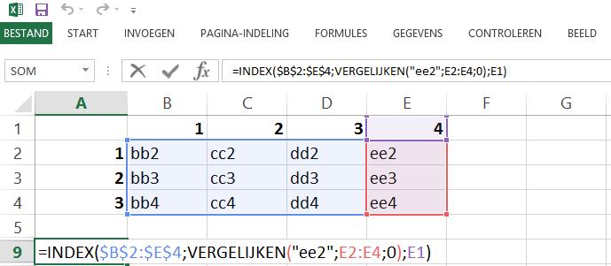 Schermafbeelding van een Excelbestand met het 4de voorbeeld van de INDEX en VERGELIJKEN functies