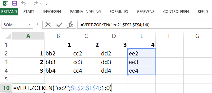 Schermafbeelding van een Excelbestand met een voorbeeld van de VERT.ZOEKEN functie