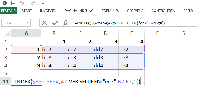 Schermafbeelding van een Excelbestand met het 6de voorbeeld van de INDEX en VERGELIJKEN functies