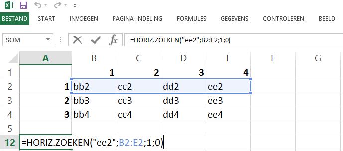 Schermafbeelding van een Excelbestand een voorbeeld van de HORIZ.ZOEKEN functie