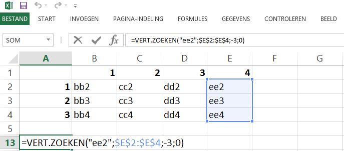 Schermafbeelding van een Excelbestand de beperking van de VERT.ZOEKEN functie