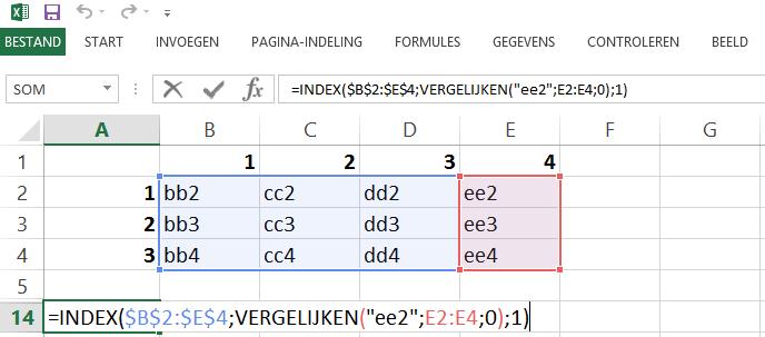 Schermafbeelding van een Excelbestand met het oplossen van de beperking van de VERT.ZOEKEN functie door de INDEX en VERGELIJKEN functies te gebruiken