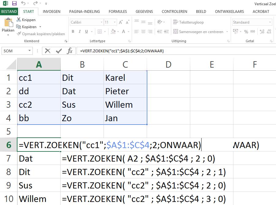 Afbeelding met het eerste voorbeeld van de Vert.Zoeken functie