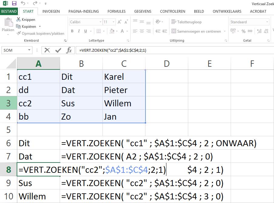 Dit is voorbeeld 3 van de Vert.Zoeken functie