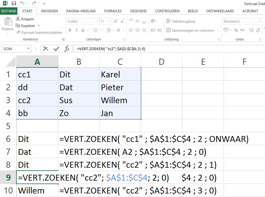 Dit is het 4de voorbeeld van de Excel functie vert.zoeken