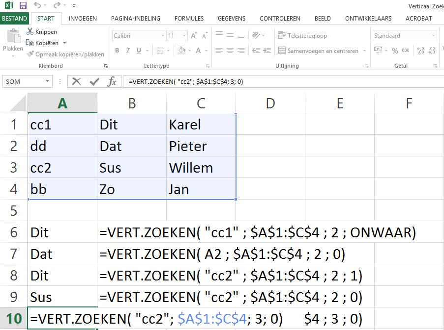 Dit is het vijfde voorbeeld van de vert.zoeken Excel functie